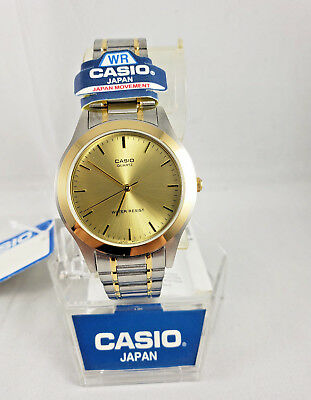 New Casio Mtp-1128G-9A Men,s Stainless Steel Tow Tone Gold Dial Analog Watch