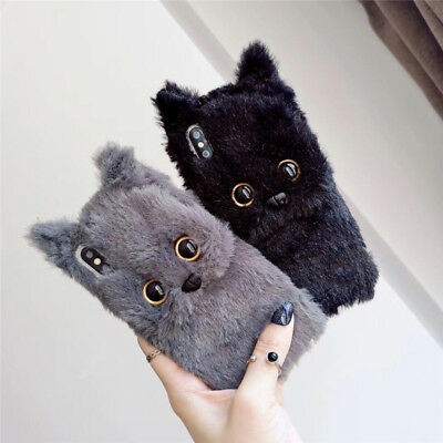 Cute winter cartoon Cat Fuzzy Plush Soft Case Cover for iPhone 11 Pro XS Max 7 8