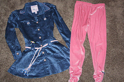 Peppermint Girls Blue Dress and Leggings size 7-8 AS NEW
