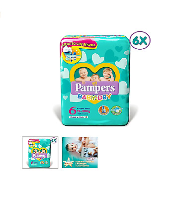 PAMPERS BABY DRY TG.6 EXTRALARGE (15-30 Kg) 84 PANNOLINI (6 PACCHI DA 14) SCORTA