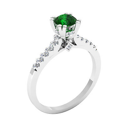 0.82 Ct Natural Round Cut Diamond Natural Emerald Ring Solid 14K White Gold Ring