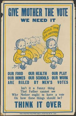 Print. ca 1912. Women's Suffrage - GIVE MOTHER THE VOTE