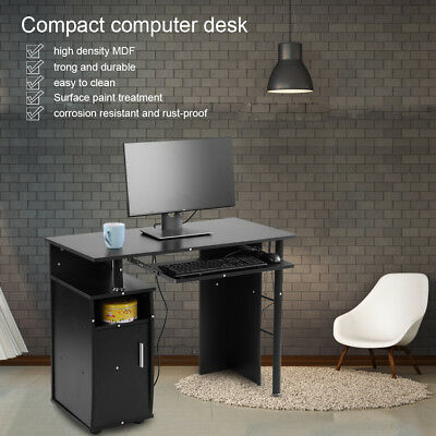 Black Computer Desk PC Table Iron + MDF With Shelves Drawers Home Office Study