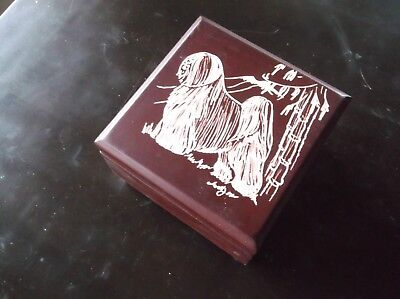 Tibetan Terrier- New design, hand engraved Jewelry Box by Ingrid Jonsson