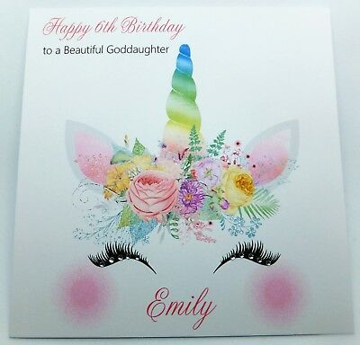 Personalised Birthday Card Unicorn Handmade Daughter Granddaughter Goddaughter