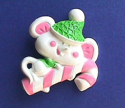 BUY1&GET1@50%~Avon PIN Christmas MOUSE on CANDY CANE Lickety Stick Vtg Brooch