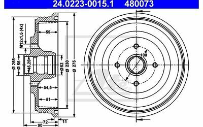 Discount Car Parts 2x ATE Brake Drums 24.0225-0001.1