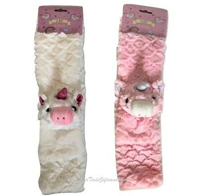 Supersoft Girls Fluffy Unicorn 3D Childrens Scarf Pink or White