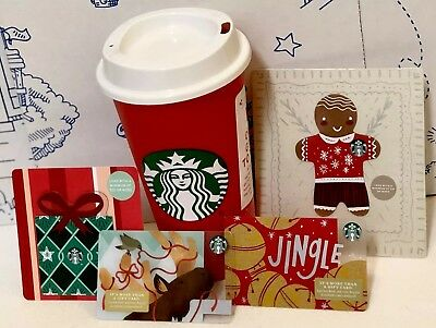 NEW Starbucks Red Reusable 16 Oz Holiday 2018 Cup .50 Coupon Ornament Cards Lot