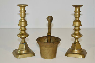 Pair of 18th Century English Candlesticks and Apothecary Mortar & Pestle
