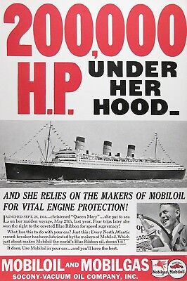 1937 MOBIL OIL Original Vintage Ad ~ QUEEN MARY 200K H.P.