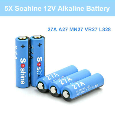 5pcs Soshine 27A Alkaline Battery MN27 L828 VR27 (Pack of 5) For Remote Doorbell
