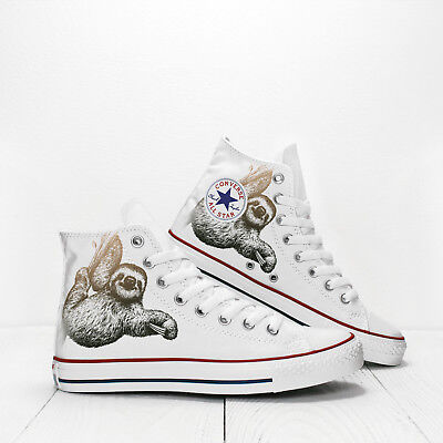 a1cf2579184b8 SLOTH ANIMAL CUSTOM White Converse All Star shoes High Top canvas sneakers
