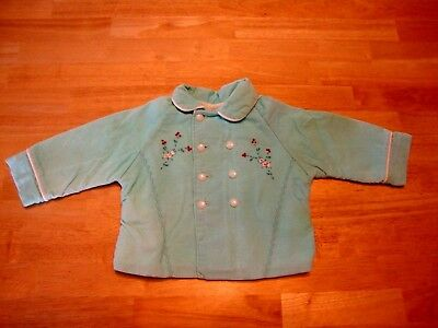 Vintage 1940's ~ Baby Double Breasted Fully Lined Corduroy Jacket