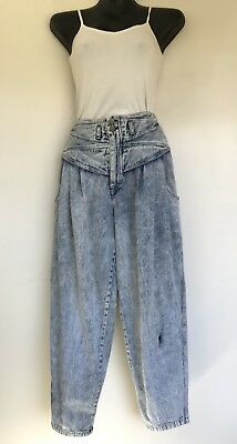 Vintage 1980s High Waist Baggy Acid Washed Tapered Leg Jeans 30x29.5
