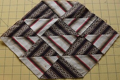 6723 1 antique 1880's Ocean Waves quilt block, rope stripe and printed stripe