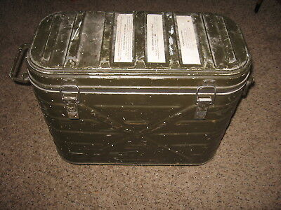 Vtg  1974 US Military Army Food Cooler Container Metal with inserts