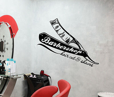 Vinyl Wall Decal Barbershop Logo Straight Razors For Hairdresser Stickers 3163ig