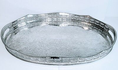 """Classic 22"""" Rise & Fall Reticulated Silver Plated Gallery Tray Royal Ascot Old!"""