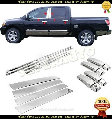 4DR HANDLE COVERS COMBO FOR 2004-2015 NISSAN TITAN CREW CHROME WINDOW SILLS