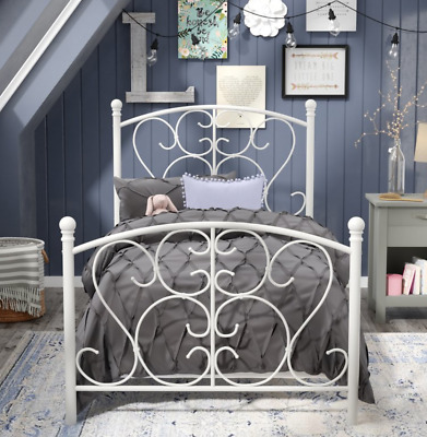 3a31230f11196 Princess Bed Frame White Metal Twin Beds for Girls Single Girly Bed Frame