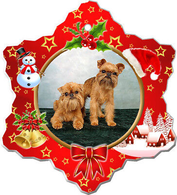Brussels Griffon Porcelain Christmas Holiday Ornament