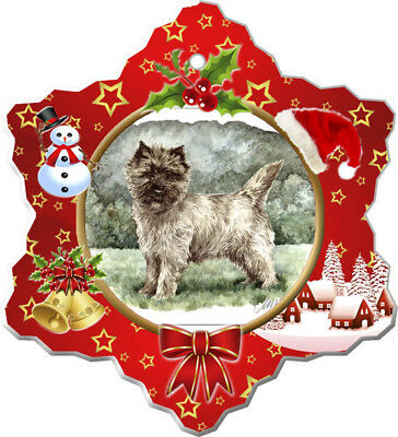 Cairn Terrier Porcelain Christmas Holiday Ornament