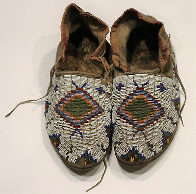 Antique Native American Sioux Tribe Beaded Moccasins Circa 1900