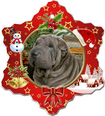 Chinese Shar-Pei Porcelain Christmas Holiday Ornament
