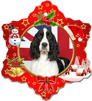English Springer Spaniel Porcelain Christmas Holiday Ornament