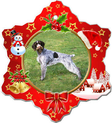German Wirehair Pointer Porcelain Christmas Holiday Ornament