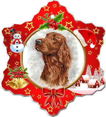 Irish Setter Porcelain Christmas Holiday Ornament