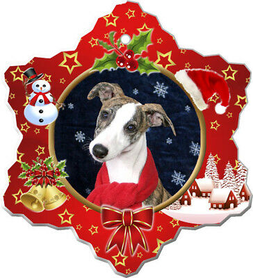 Whippet Porcelain Christmas Holiday Ornament