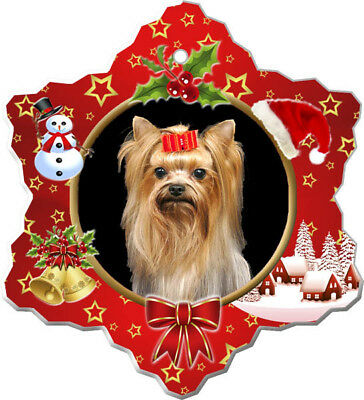 Yorkshire Terrier Porcelain Christmas Holiday Ornament