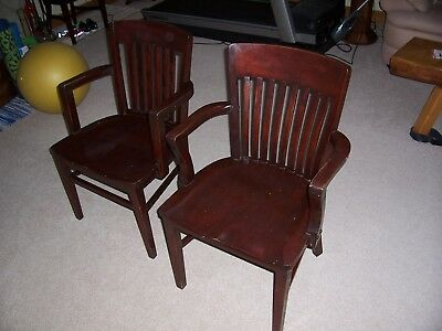 Two Courthouse Banker Lawyer Chairs Vintage