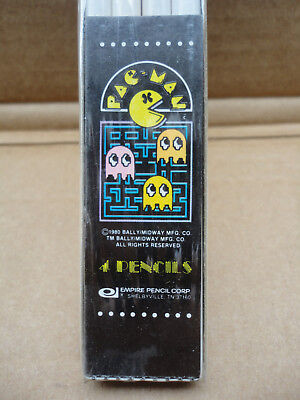 ORIGINAL 1980 Pac-Man Arcade - VINTAGE SEALED PACK - 4 Empire Pencils Unused