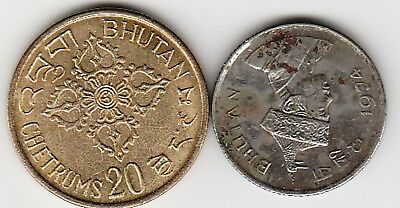 2 different world coins from BHUTAN