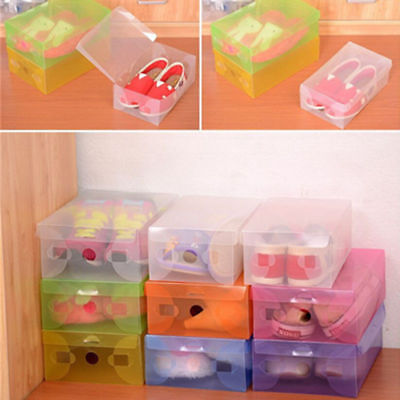 20 BOX Storage Plastic Organizer Shoe Foldable Tidy Clear Pcs Boxes Stackable