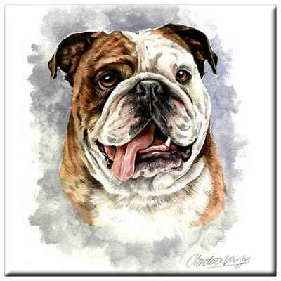 "Bulldog 4"" Decorative, Cork Backed, Ceramic Tile"