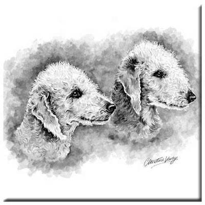 "Bedlington Terrier 4"" Decorative, Cork Backed, Ceramic Tile"