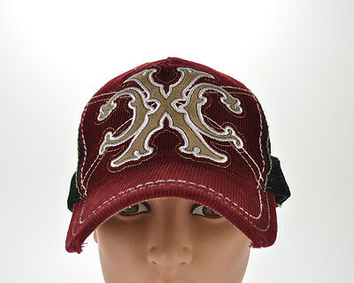 Xtreme Couture Trucker Mesh Cap Hat Snapback Maroon/Black Distressed