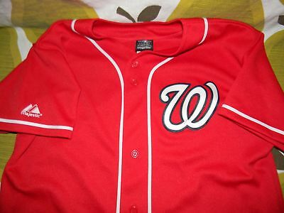WASHINGTON NATIONALS red button up sewn baseball jersey MLB Majestic youth  XL 07db969be