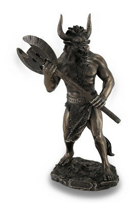 Bronze Finished Minotaur With Labrys Statue Greek Mythology