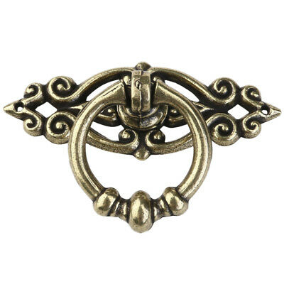 4PCS Vintage Brass Cabinet Knobs Cupboard Drawer Dresser Drop Ring Pull Handle