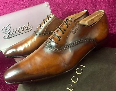 30aeecba59b Mens Brown Gucci Leather Oxfords Sz 9.5 G   10.5 D US Made In ITALY
