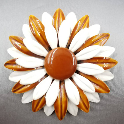 Vintage BIG White Brown Metal and Enamel Flower Pin 1970s Flower Power Brooch