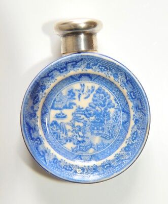 Antique Silver Topped Willow Pattern Scent Bottle by Sampson Mordan