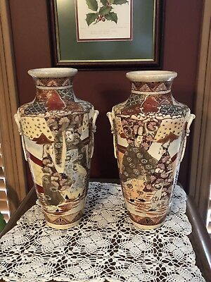 FABULOUS Vintage HAND DECORATED Japanese Satsuma Vase Earthenware12""