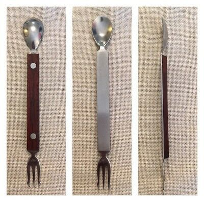 Mid Century Modern Bar Tool Rosewood Japan Spoon/Fork  Wood Handle