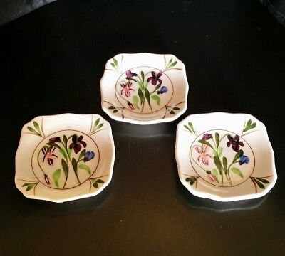 3 Vintage Hand Painted Butter Pat Pink & Purple Floral Design